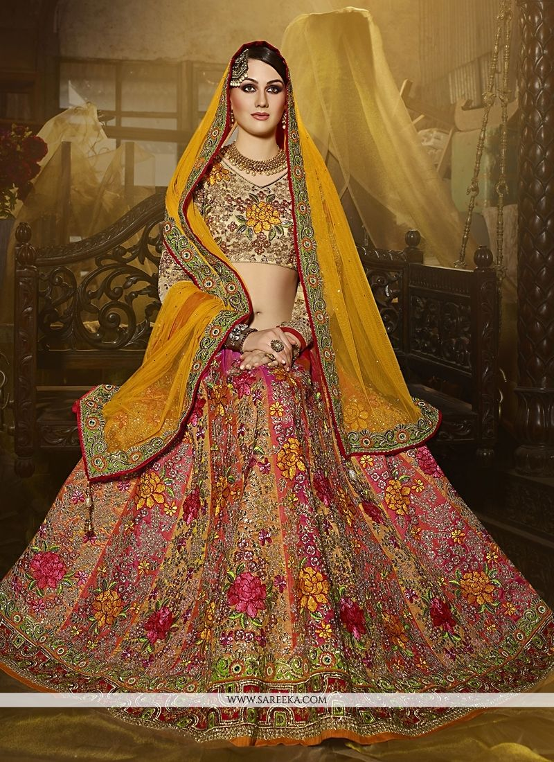 8967bb8faa2 Buy Art Silk Multi Colour Patch Border Work A Line Lehenga Choli Online    South Africa -