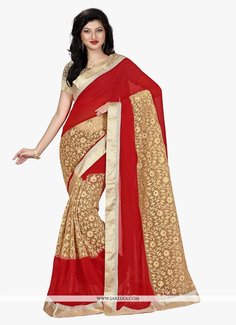 Beige and Red Patch Border Work Georgette Classic Saree