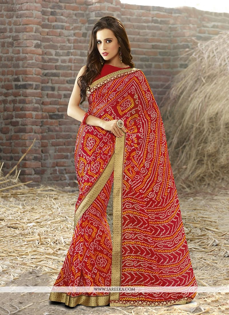 Georgette Print Work Designer Saree