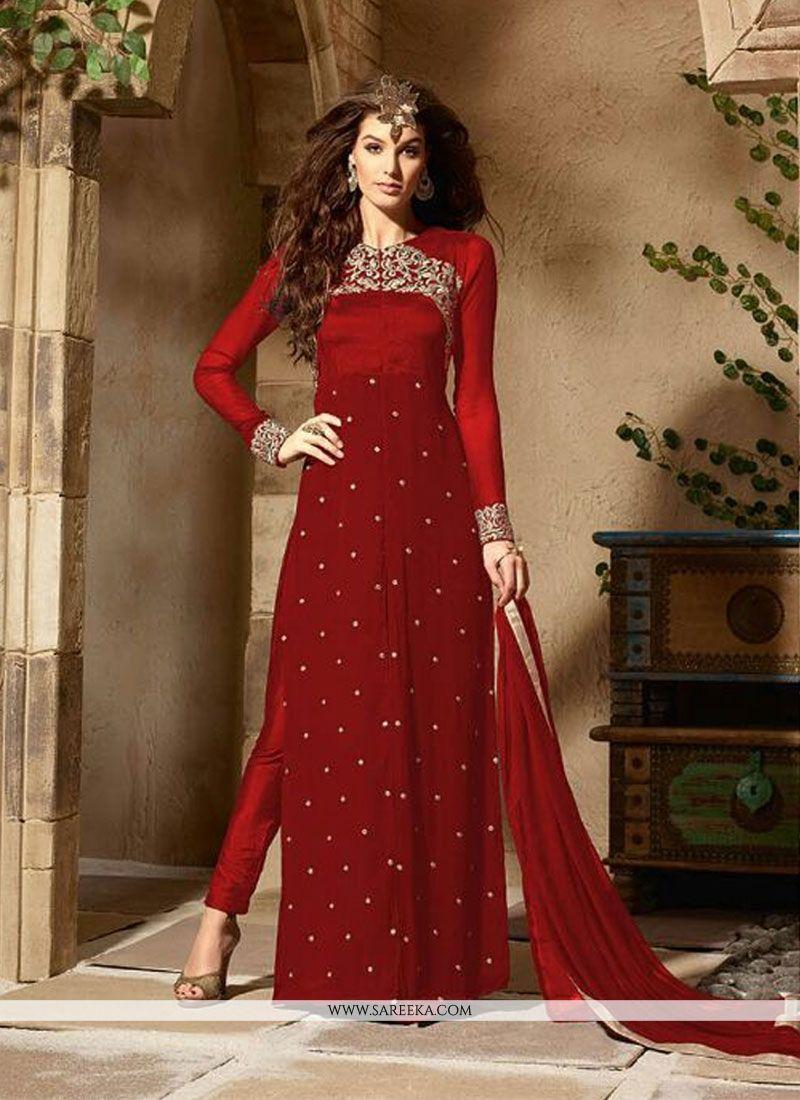 1ae2bcca82 Buy Red Embroidered Work Georgette Designer Pakistani Salwar Suit Online :  47335 -