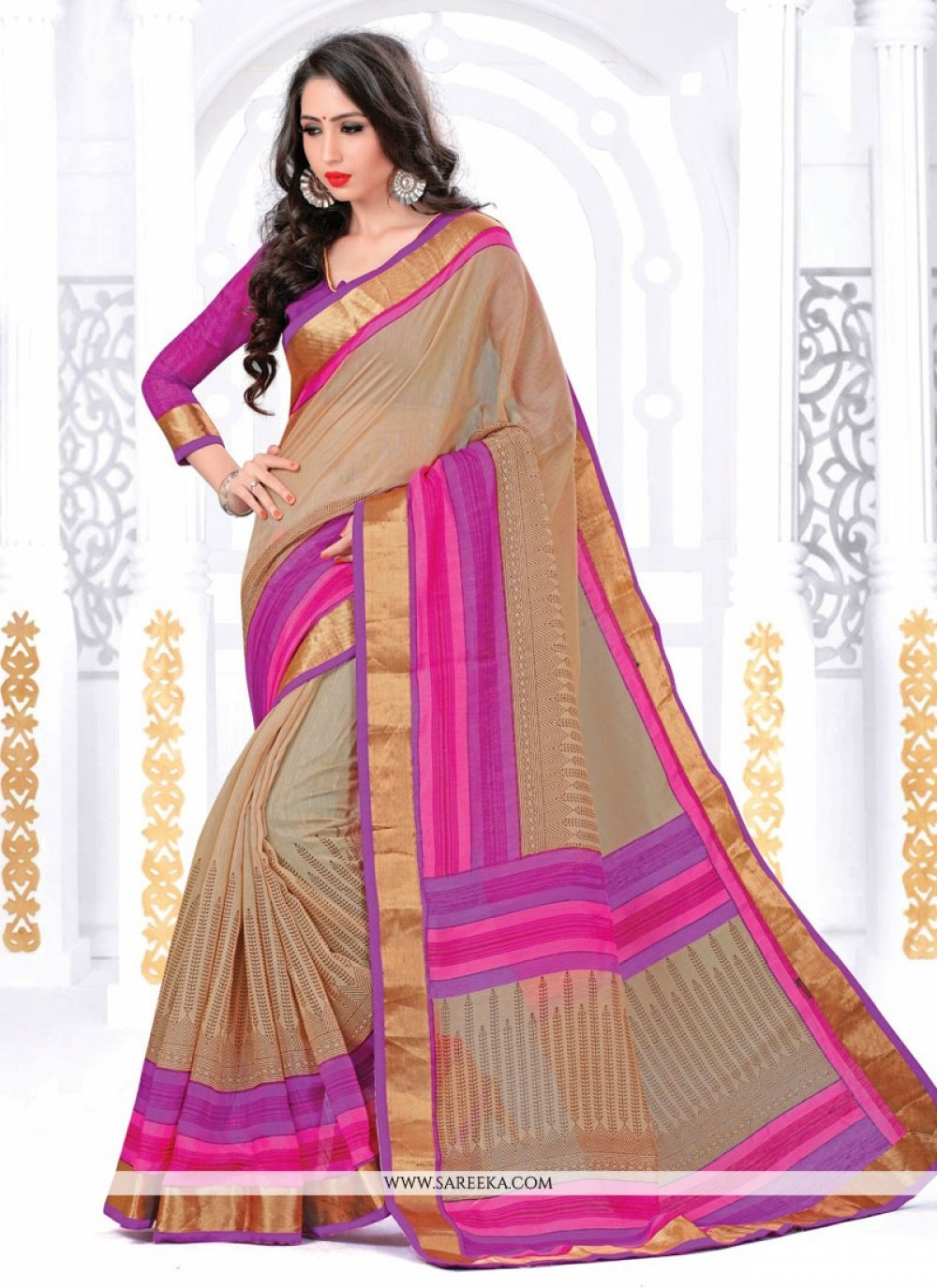 Beige Silk Casual Saree
