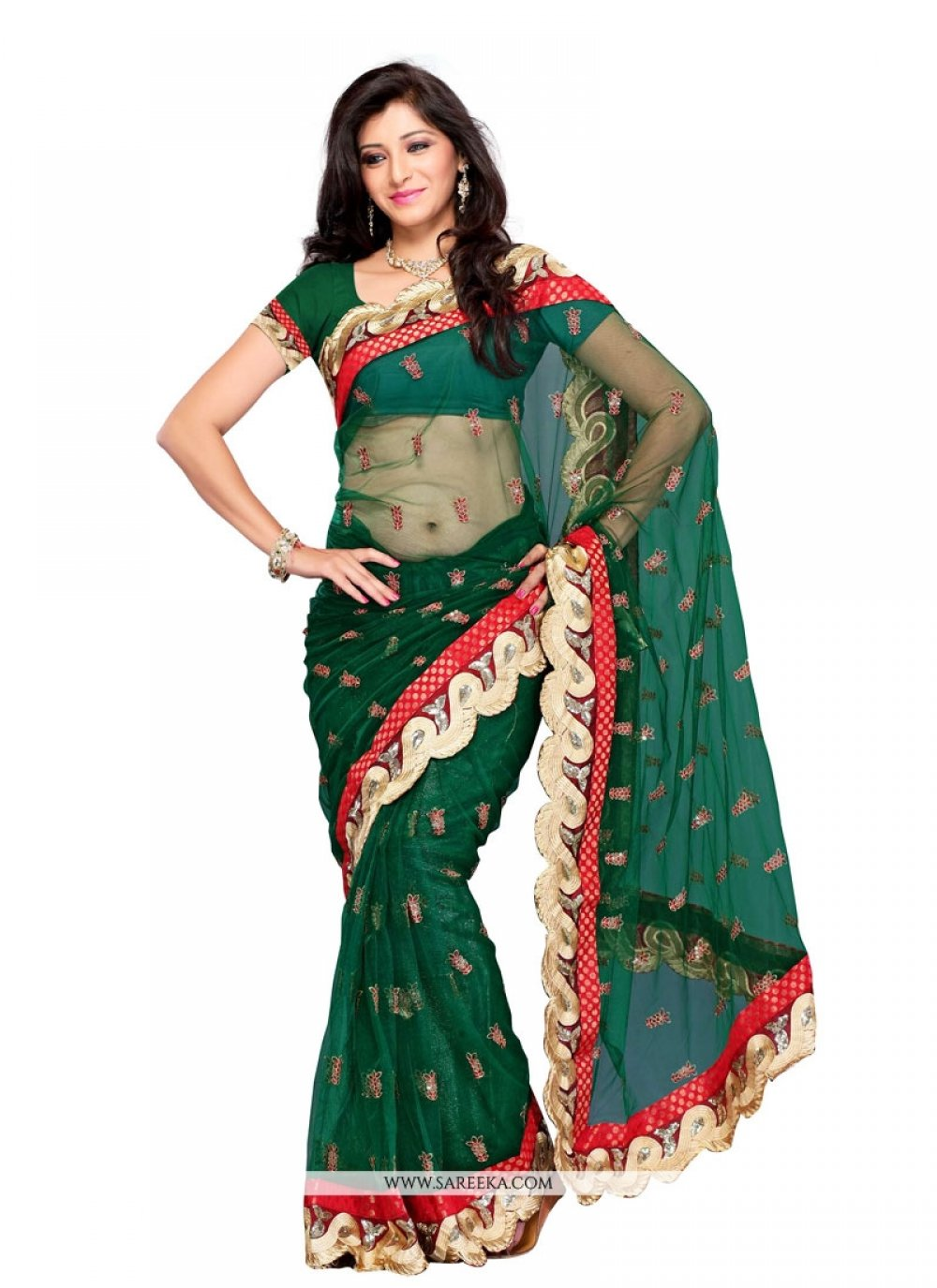 Green Embroidered Work Net Designer Saree