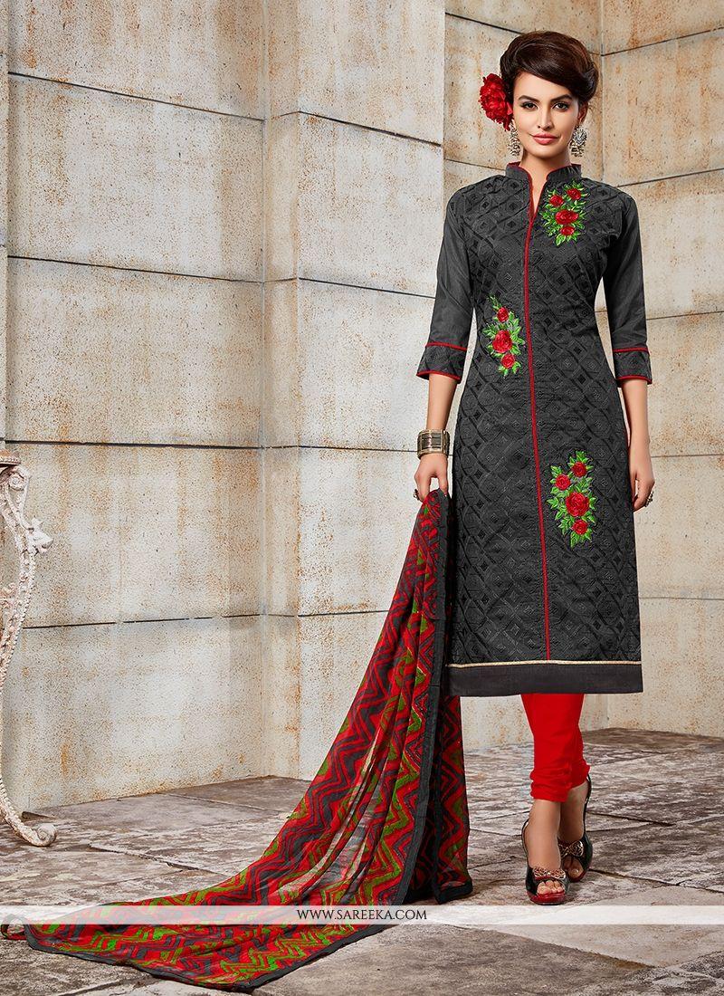 Grey Embroidered Work Churidar Designer Suit