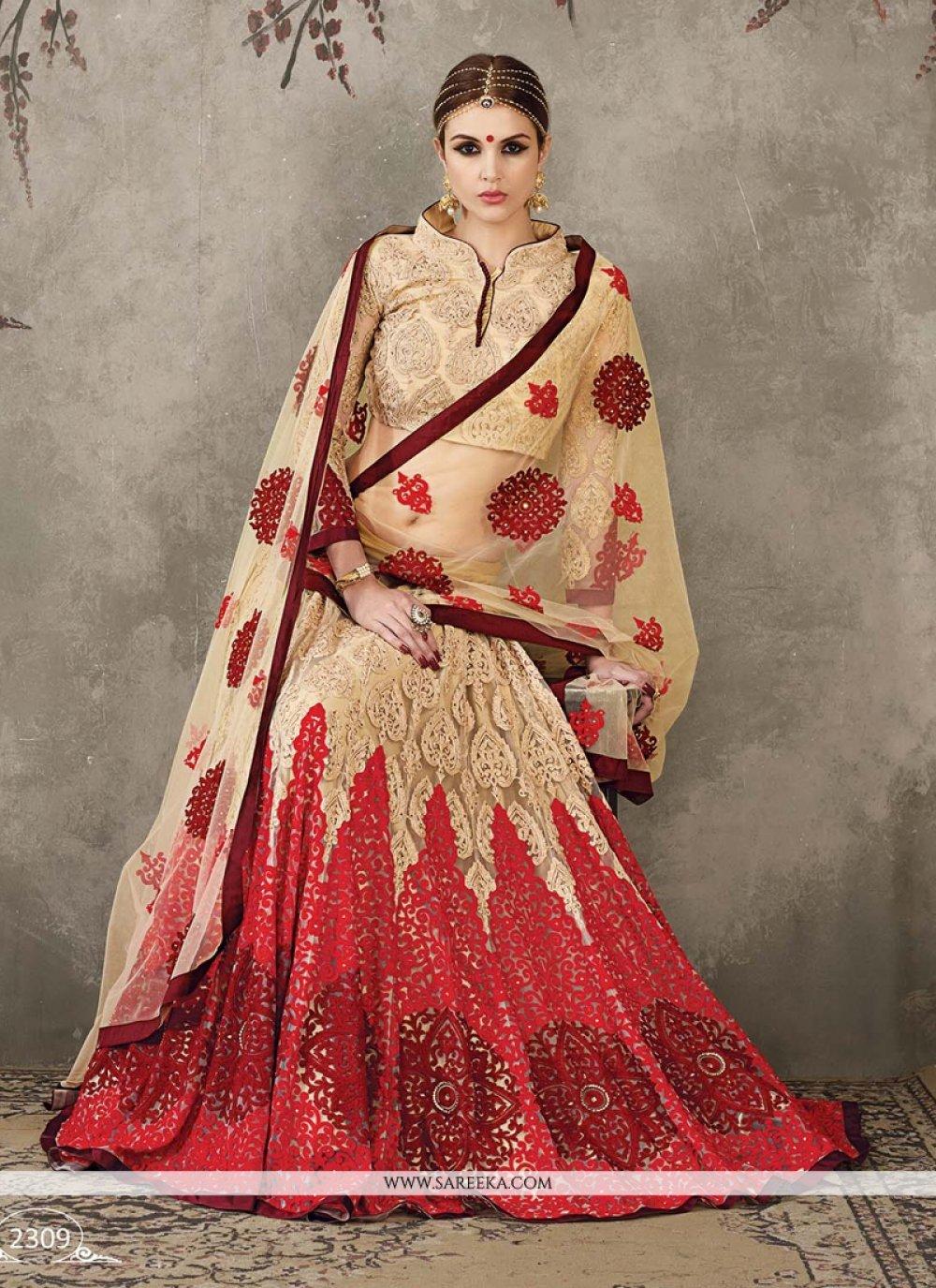 Net Beige and Red Embroidered Work A Line Lehenga Choli