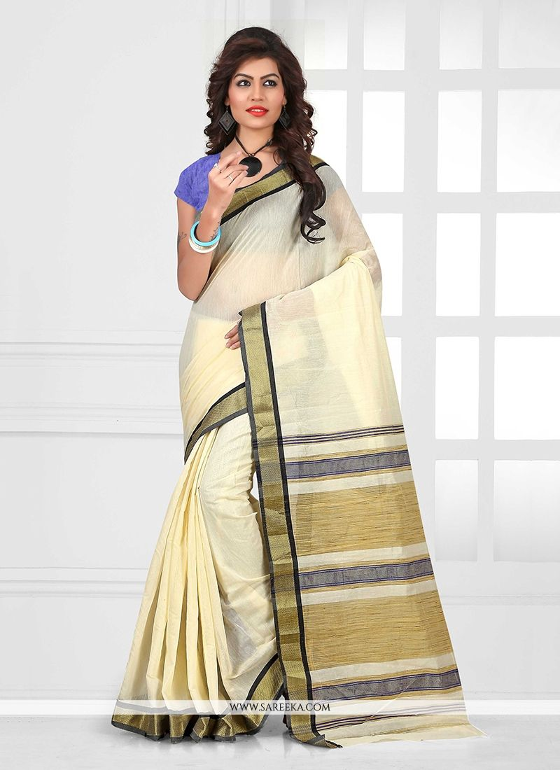 Patch Border Work Cream Casual Saree