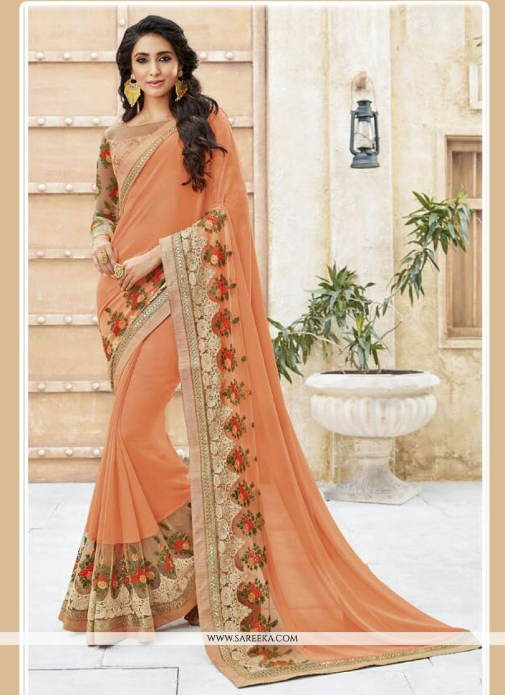 Patch Border Work Georgette Designer Traditional Sarees