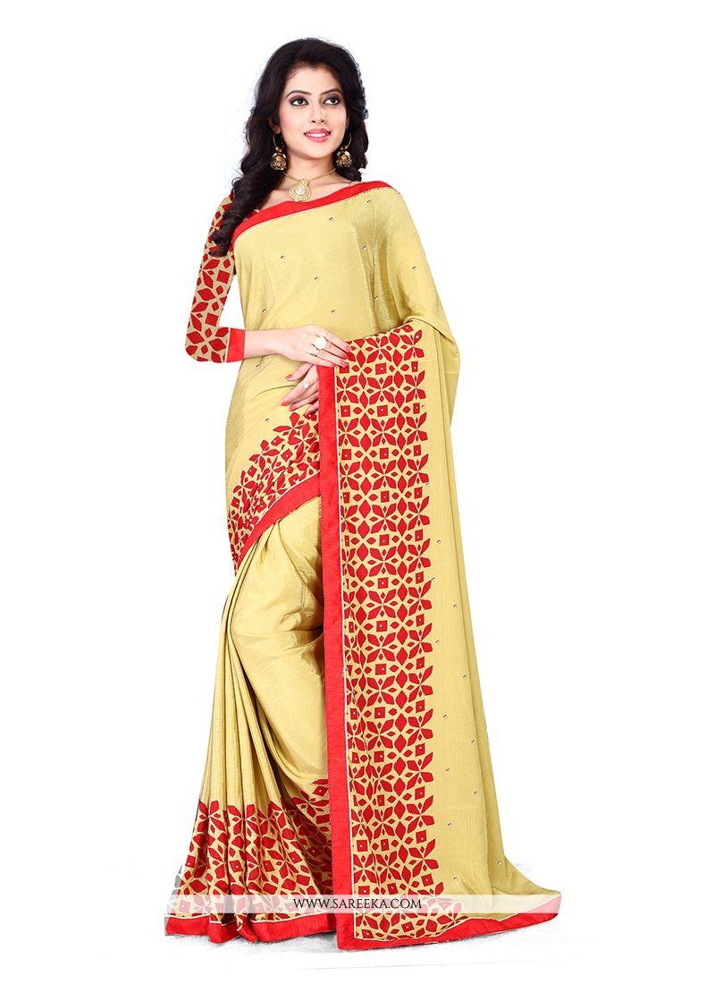 Chiffon Satin Yellow Casual Saree