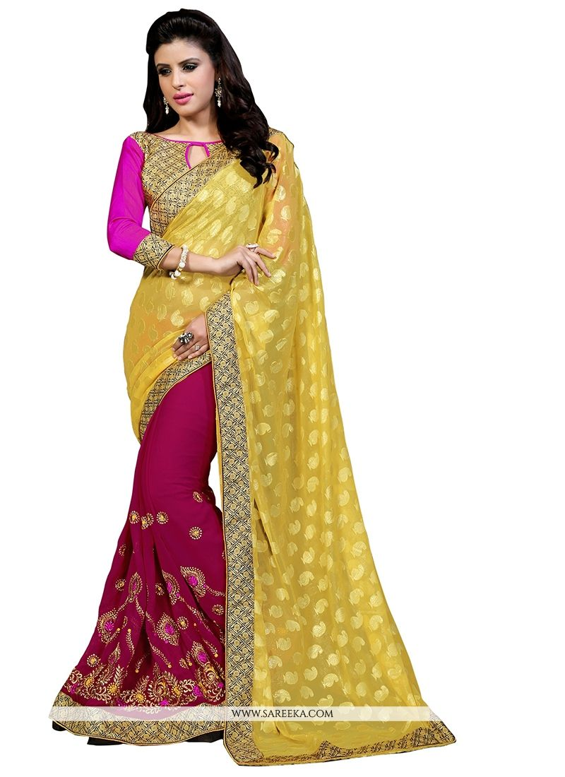 Magenta Patch Border Work Shimmer Georgette Designer Half N Half saree