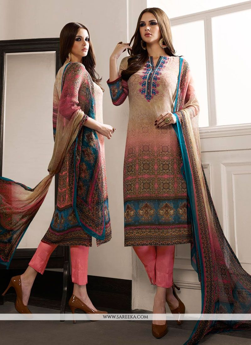 Multi Colour Print Work Designer Straight Salwar Suit
