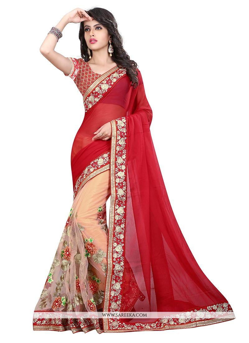 Buy Net Embroidered Work Designer Saree Online At Best Price