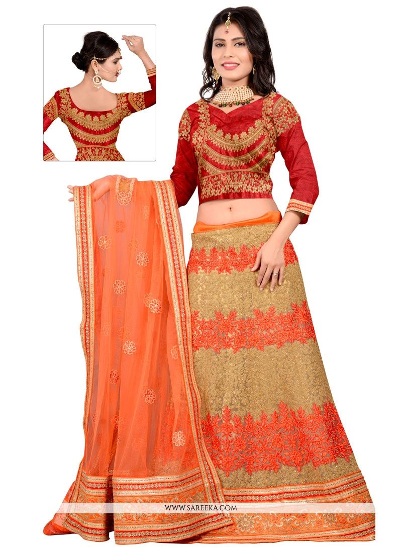 Net Red Patch Border Work A Line Lehenga Choli