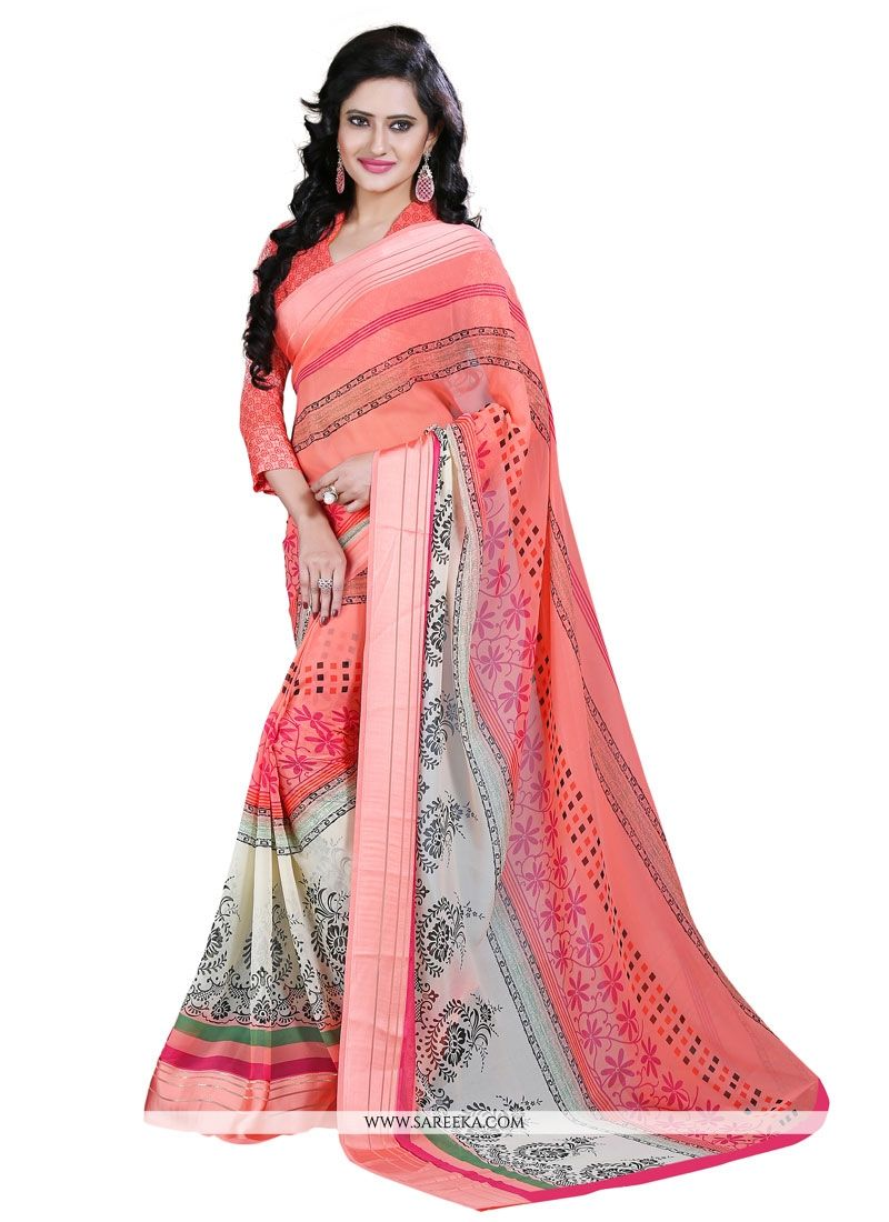 Pink Patch Border Work Georgette Casual Saree