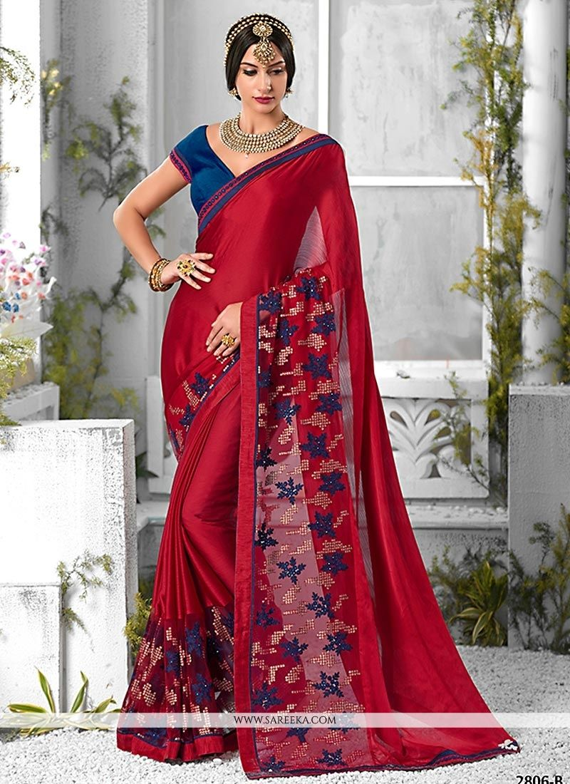 1e840224692d32 Buy Pure Chiffon Red Lace Work Trendy Saree Online : 47037 -