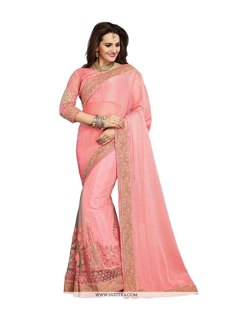 Beguiling Faux Chiffon Pink Classic Designer Saree