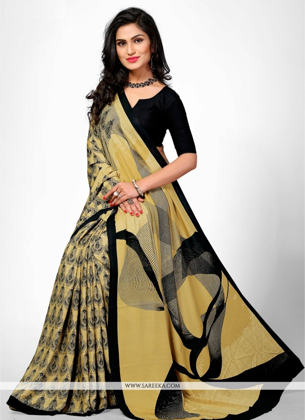 Beguiling Faux Crepe Multi Colour Casual Saree
