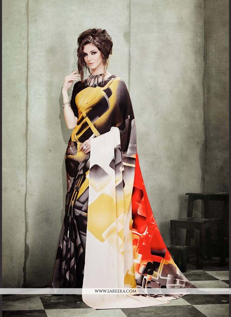 Beguiling Faux Crepe Print Work Casual Saree