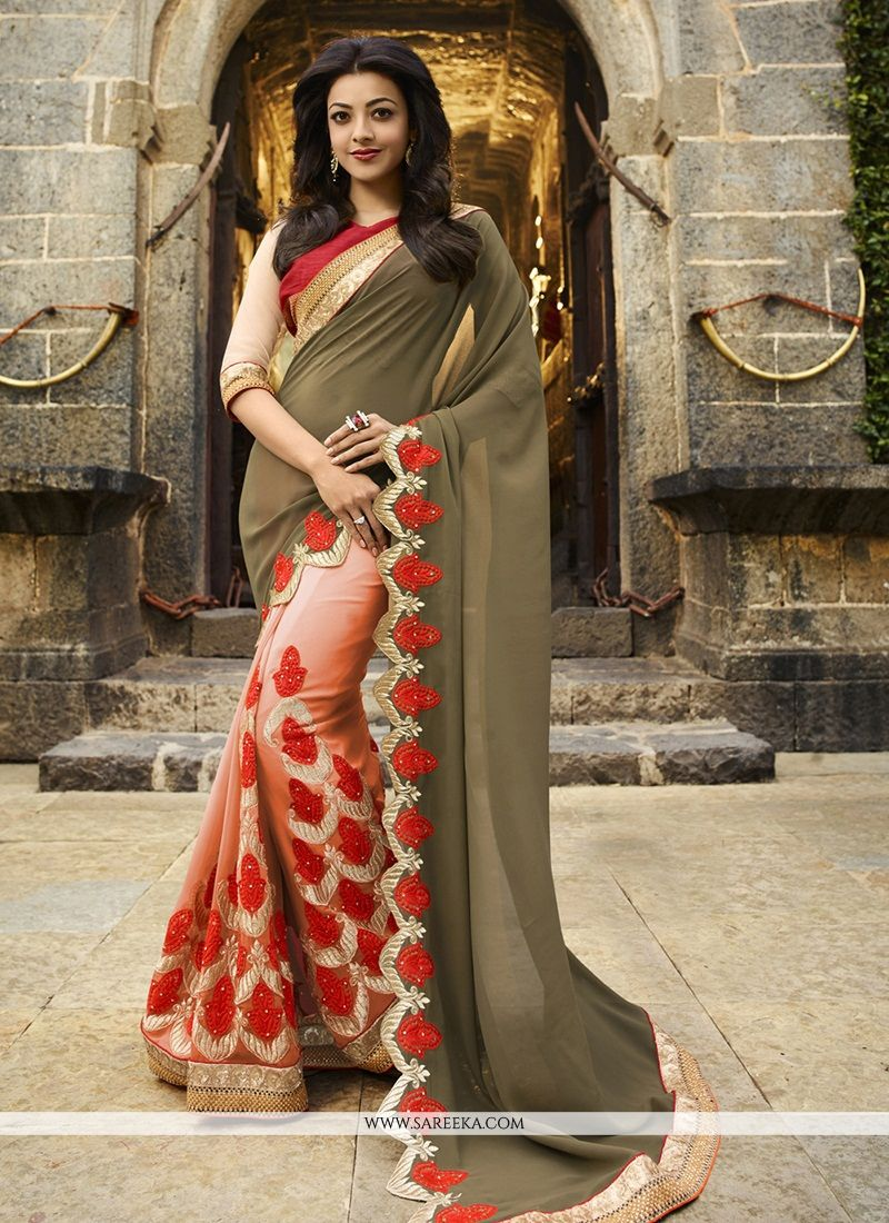 Beguiling Multi Colour Patch Border Work Jacquard Designer Saree