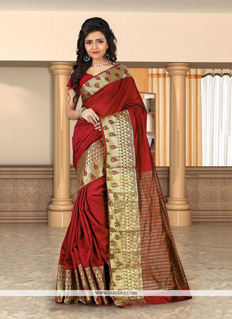 Beguiling Patch Border Work Maroon Cotton   Casual Saree