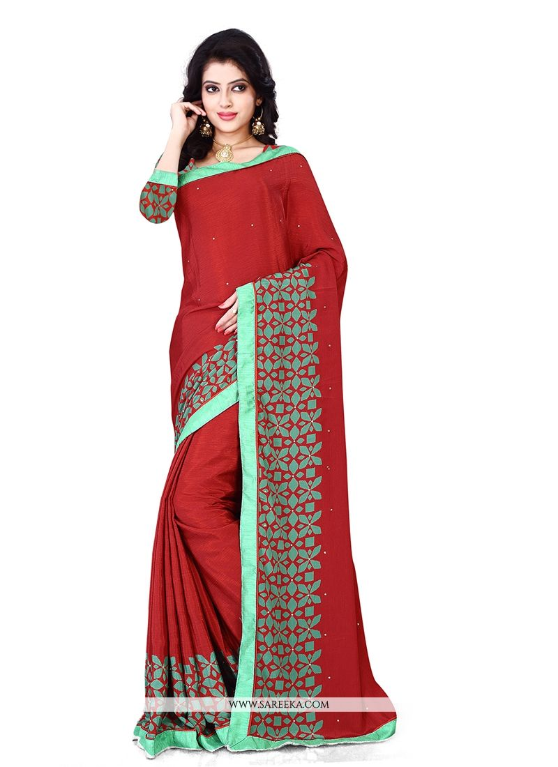 Beguiling Patch Border Work Red Casual Saree