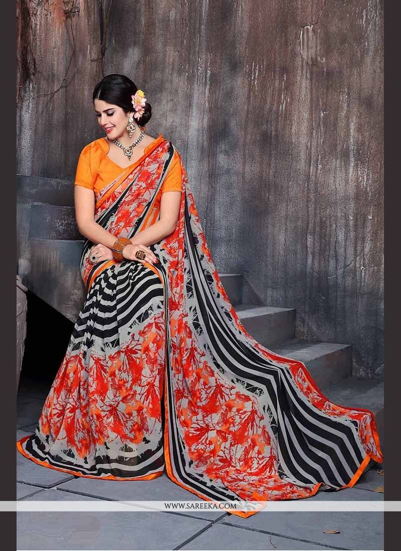 Beguiling Print Work Georgette Casual Saree