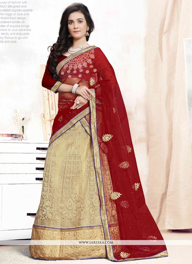 Beige and Maroon Patch Border Work A Line Lehenga Choli