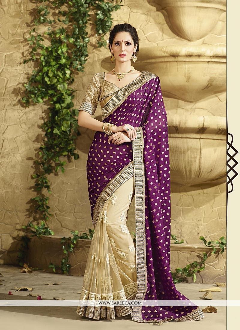 Beige and Purple Embroidered Work Net Classic Designer Saree