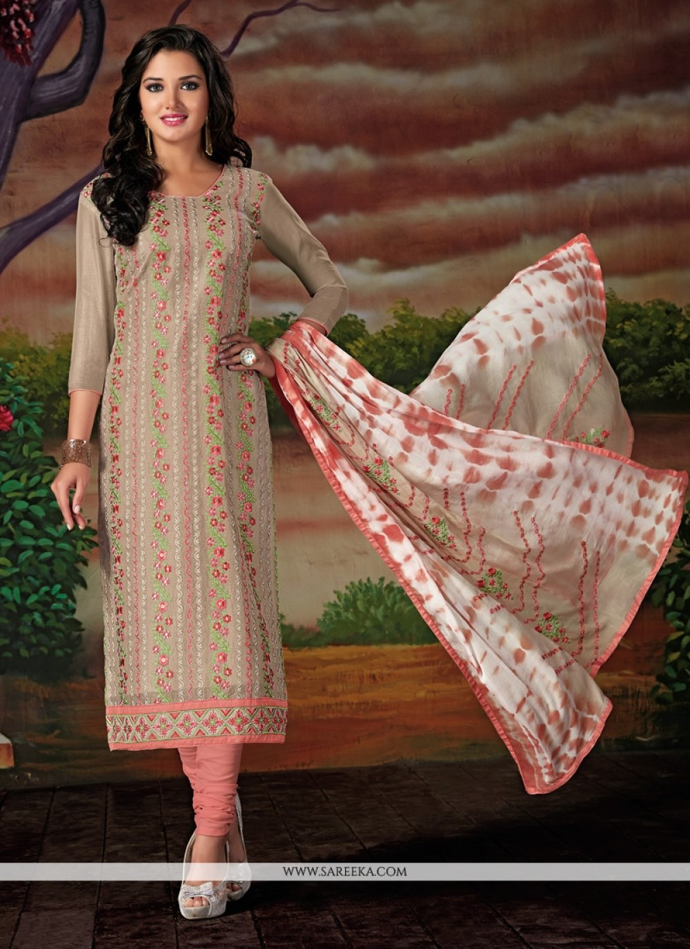 Beige Chanderi Cotton Churidar Designer Suit