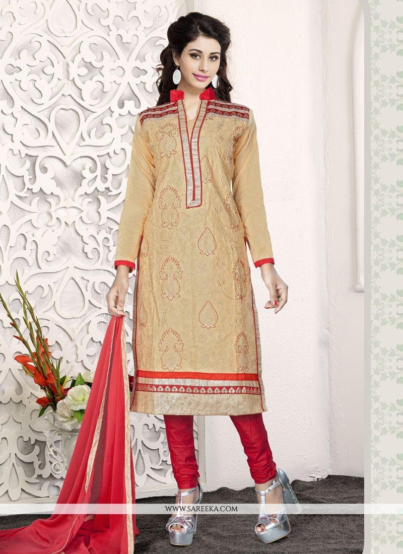 Beige Cotton   Churidar Designer Suit