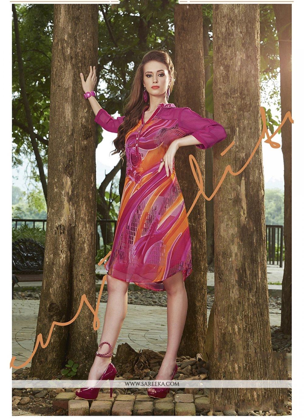 Georgette Multi Colour Print Work Party Wear Kurti