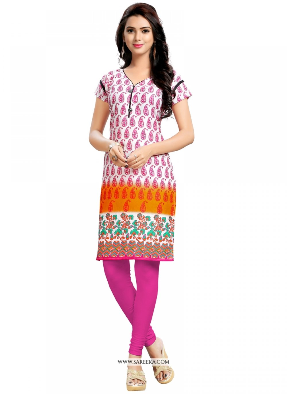 Multi Colour Print Work Casual Kurti