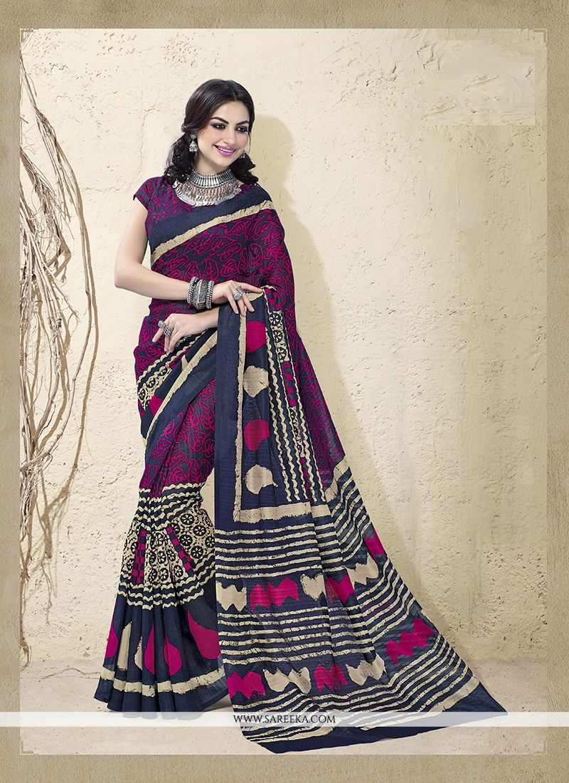 Print Work Cotton Silk Casual Saree