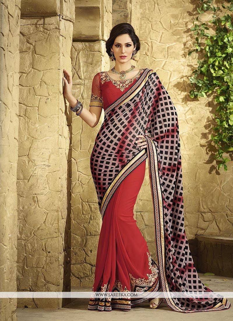 Bewildering Georgette Patch Border Work Classic Designer Saree