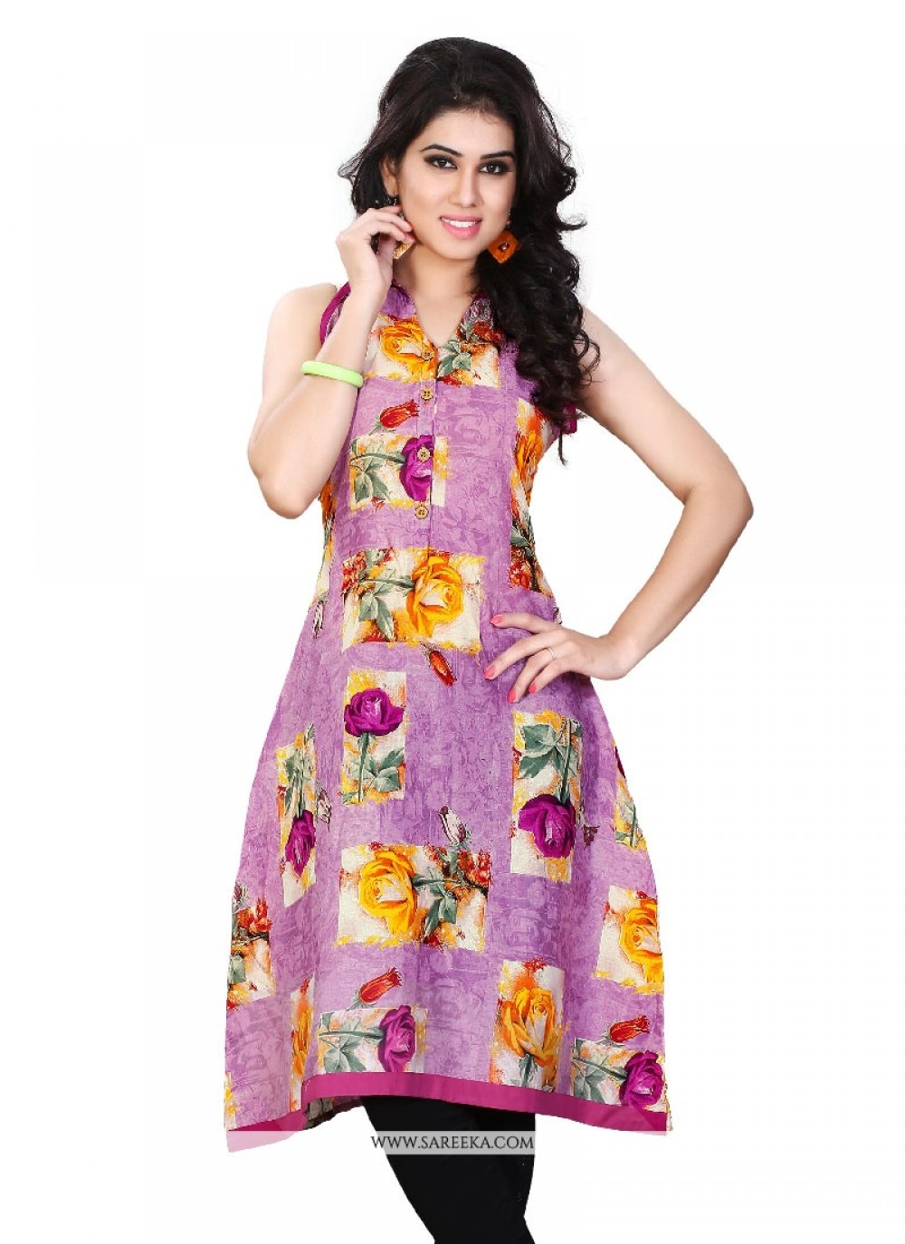 Bewitching Print Work Multi Colour Cotton   Party Wear Kurti