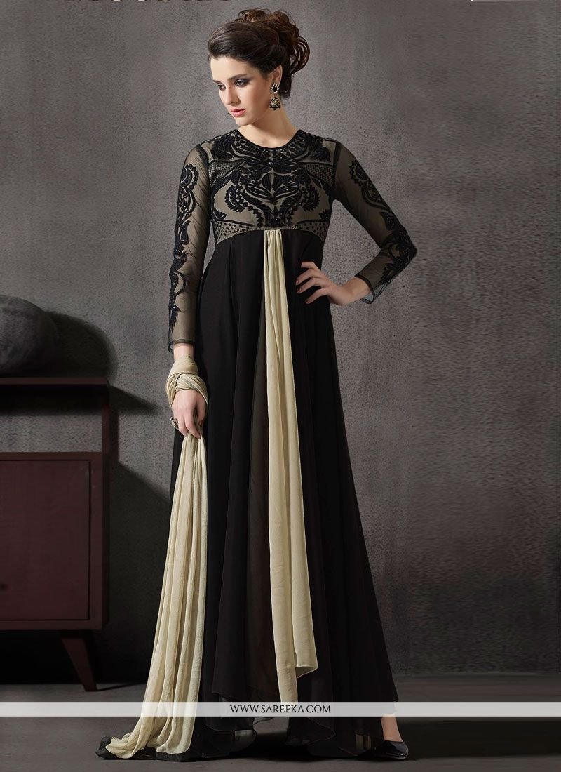 d7e0835cd7 Black Georgette Anarkali Salwar Kameez -