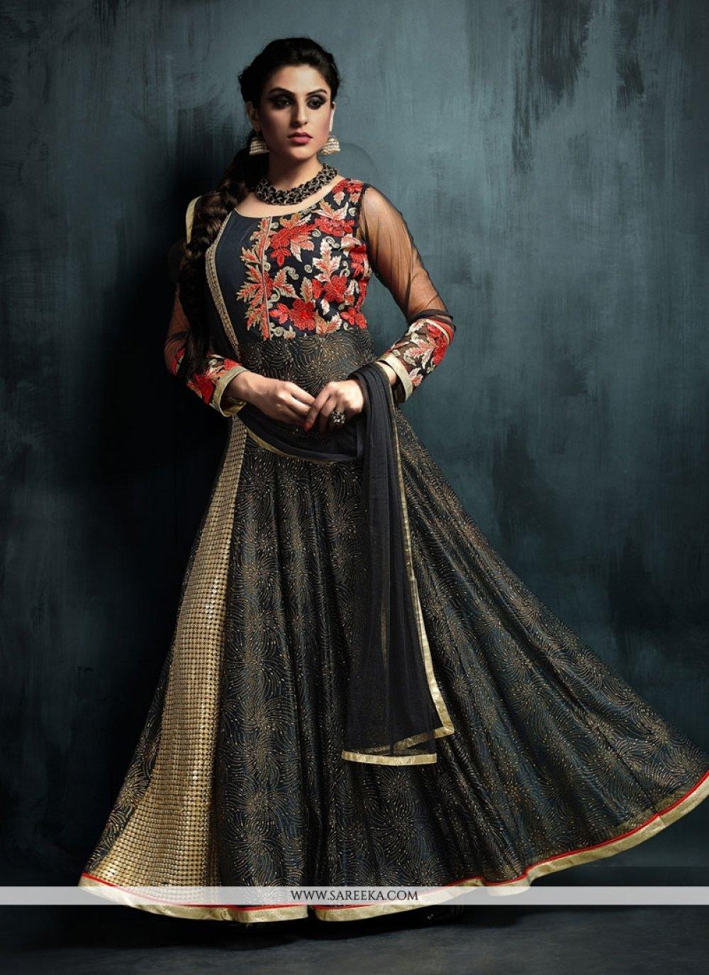 Black Net Anarkali Salwar Kameez