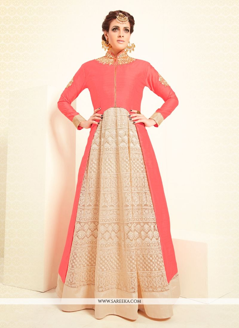 0a77d23e3d Art Dupion Silk Cream and Pink Mirror Work Designer Suit -