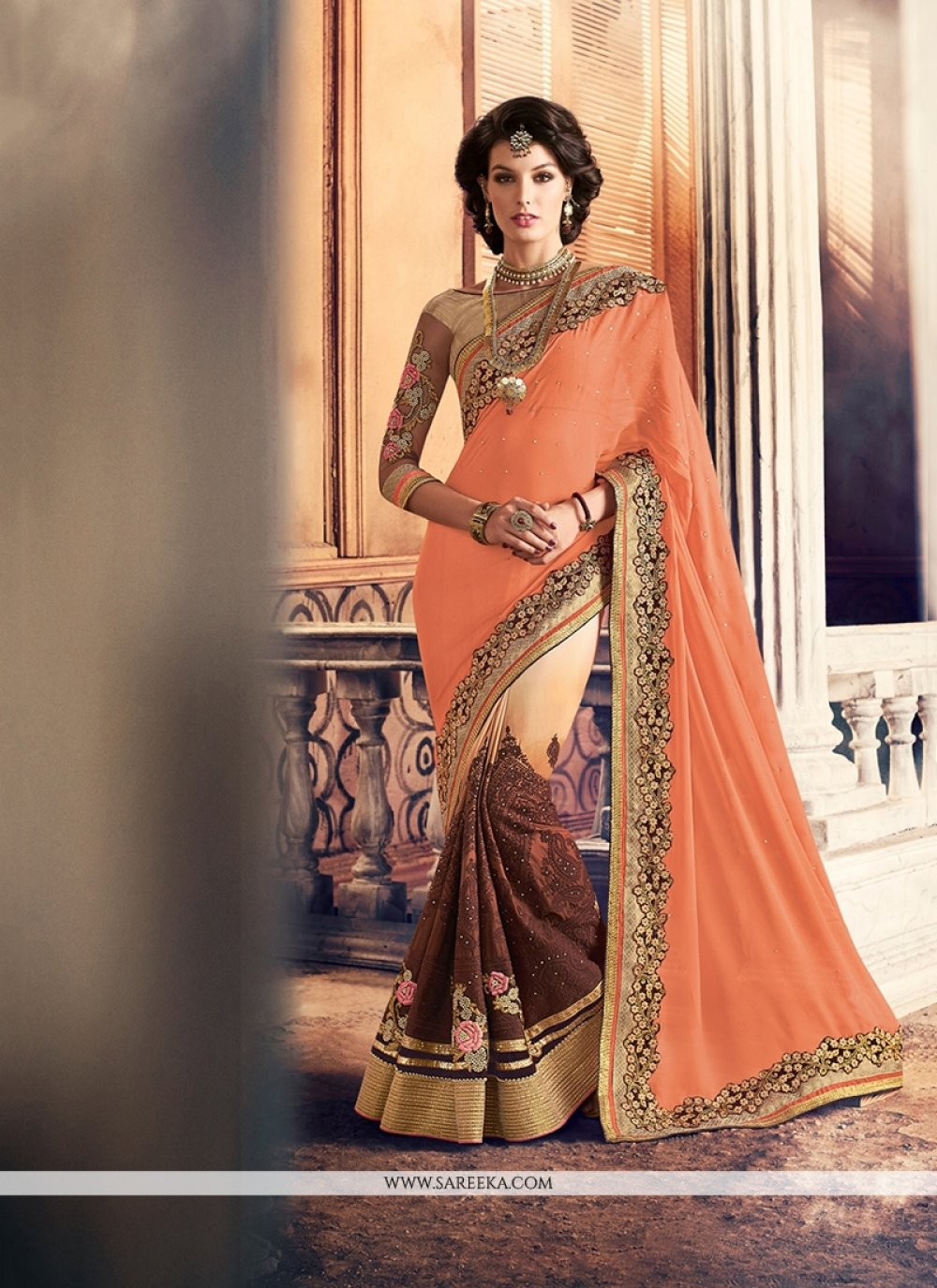 Beige and Brown Patch Border Work Georgette Classic Saree