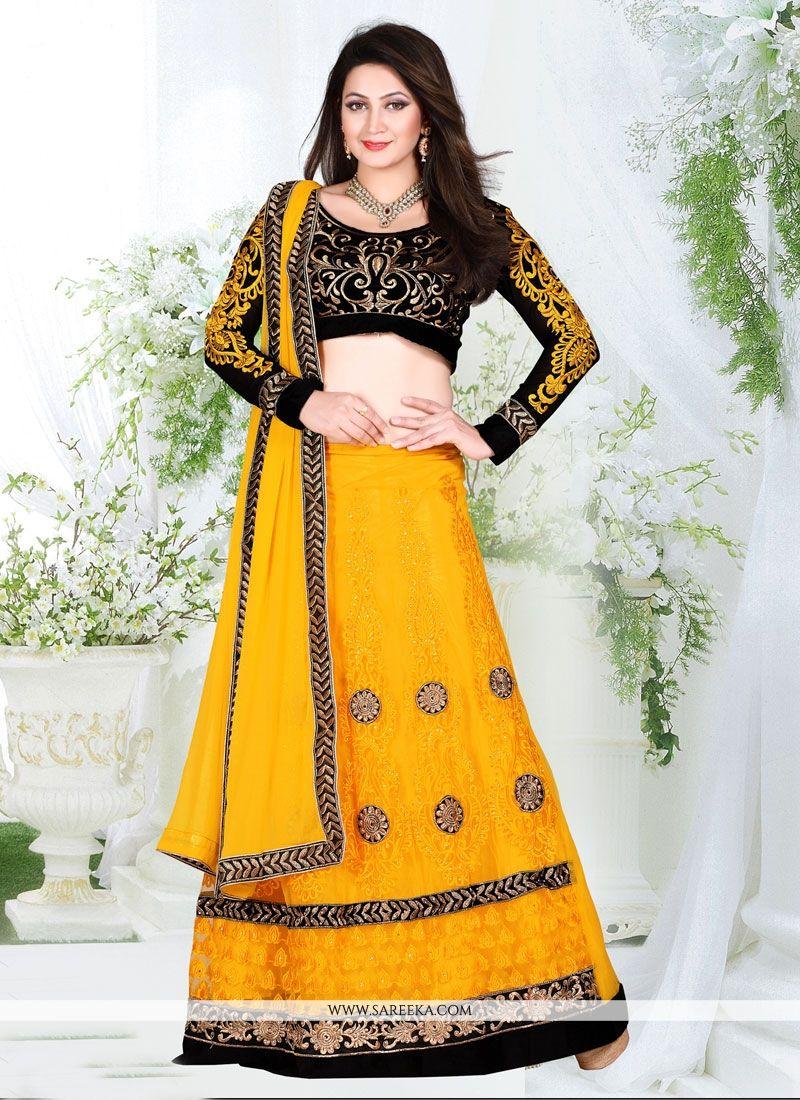 Buy Net Yellow A Line Lehenga Choli Online Usa