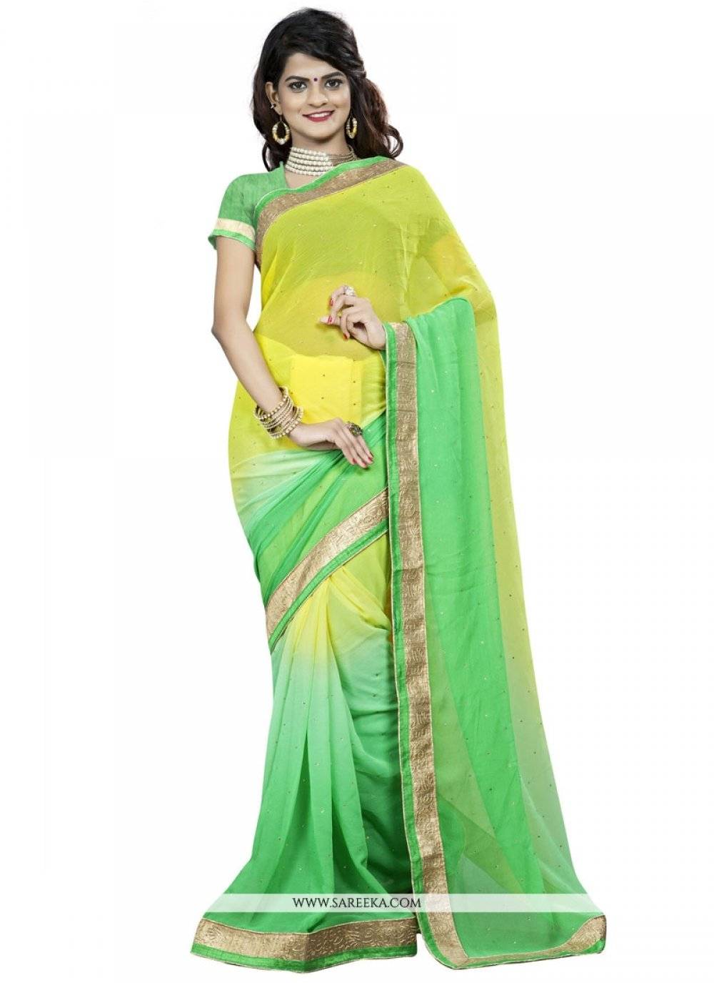 Patch Border Work Faux Chiffon Casual Saree