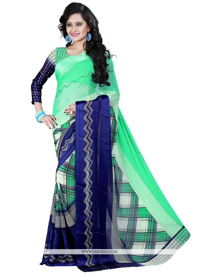 Blue and Sea Green Patch Border Work Georgette Casual Saree