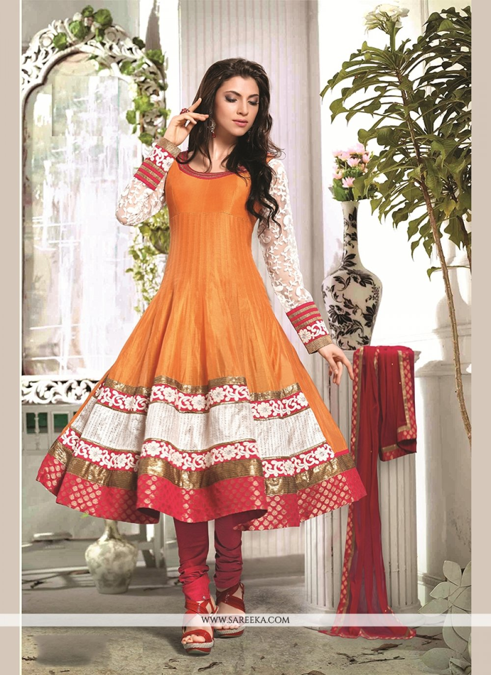 Chanderi Cotton Orange Patch Border Work Readymade Suit