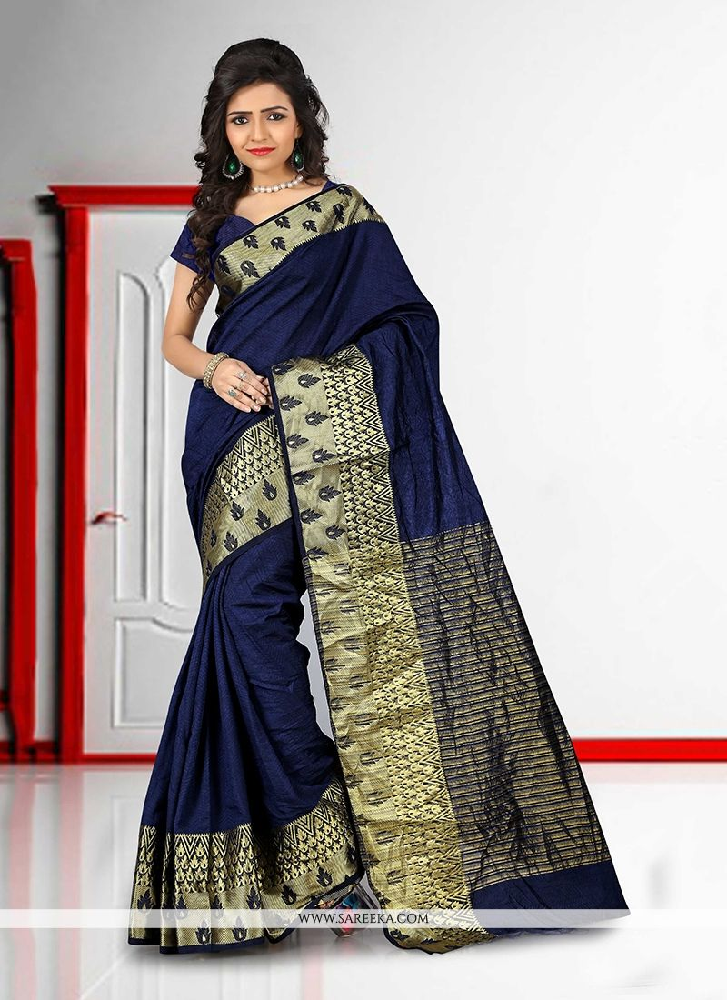 Patch Border Work Navy Blue Cotton   Casual Saree
