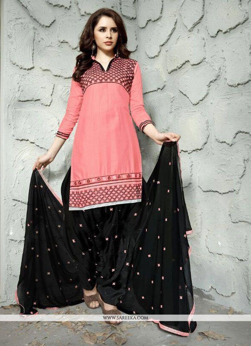 Resham Work Cotton   Trendy Punjabi Churidar Suit