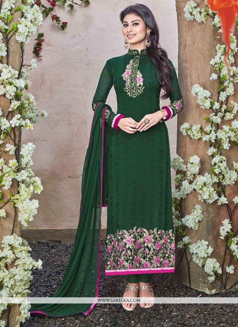 Georgette Green Designer Straight Salwar Kameez