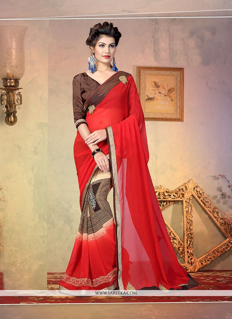 Georgette Patch Border Work Designer Half N Half saree