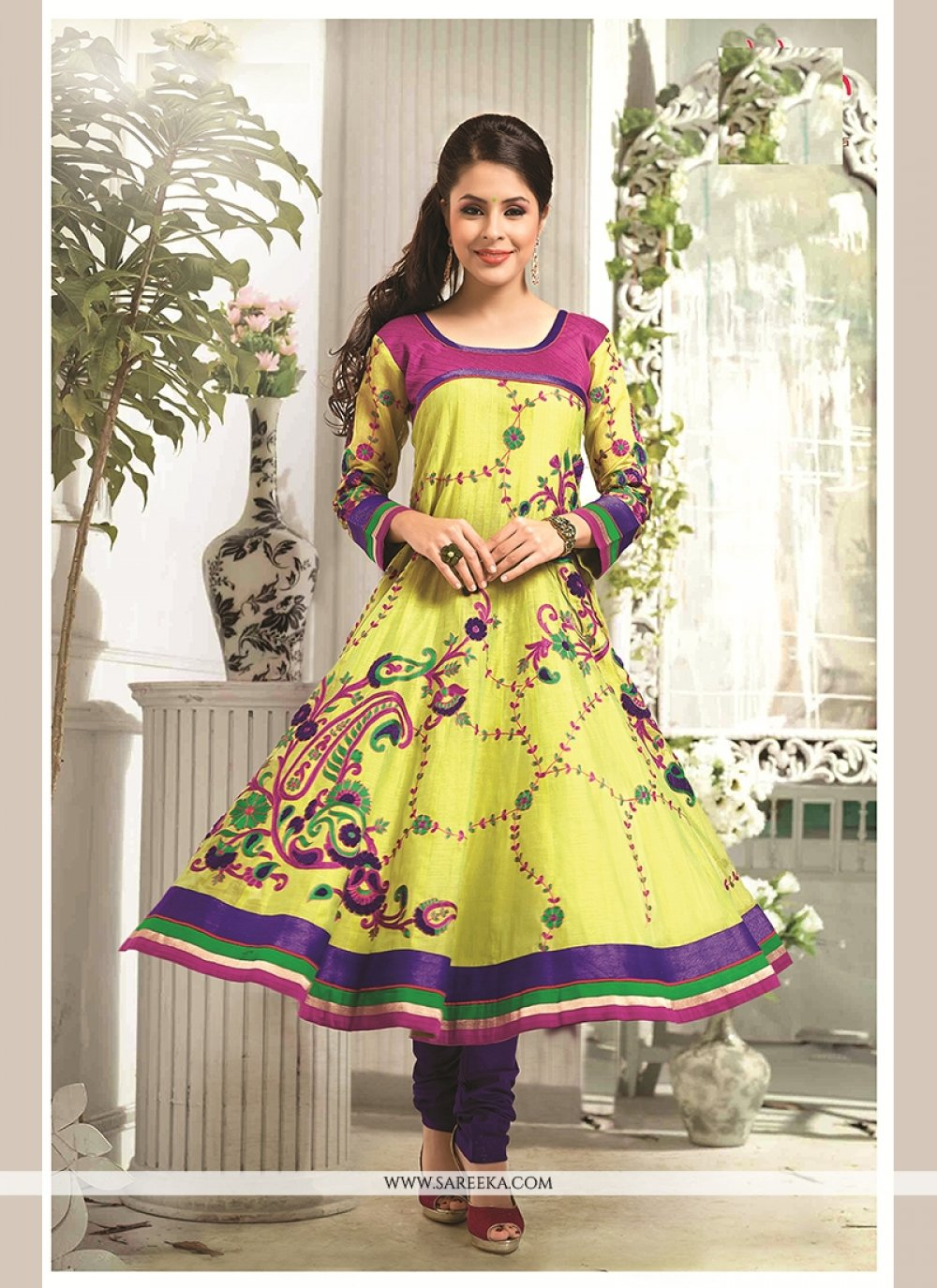 Patch Border Work Chanderi Cotton Readymade Suit