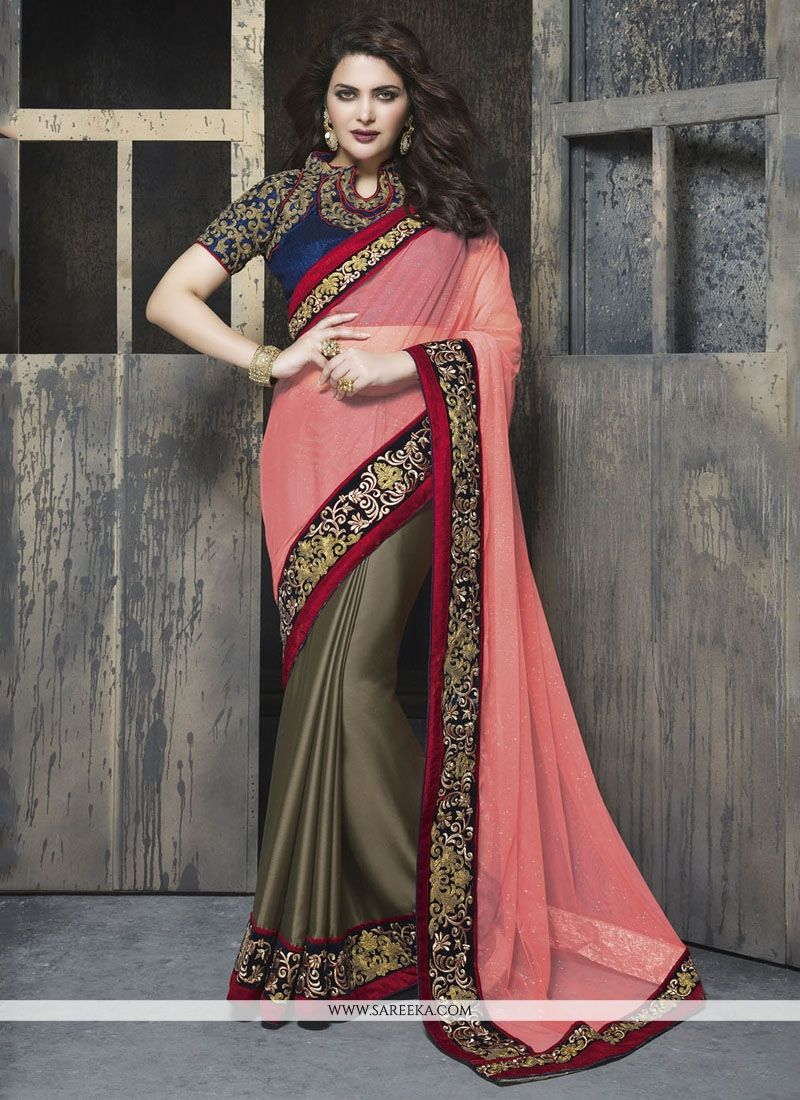 Patch Border Work Faux Chiffon Classic Designer Saree