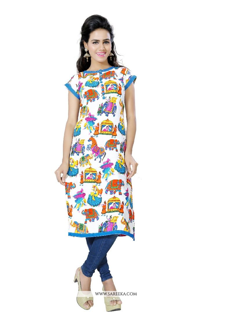 Print Work Multi Colour Casual Kurti