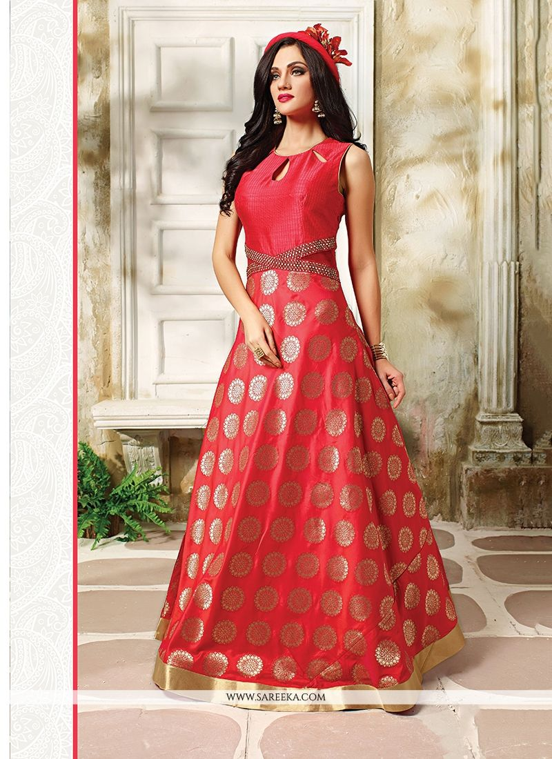 Shop Red Embroidered Work Banarasi Silk Readymade Designer Suit ...