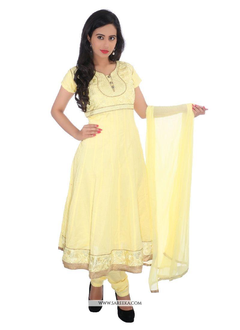 Yellow Cotton   Churidar Designer Suit